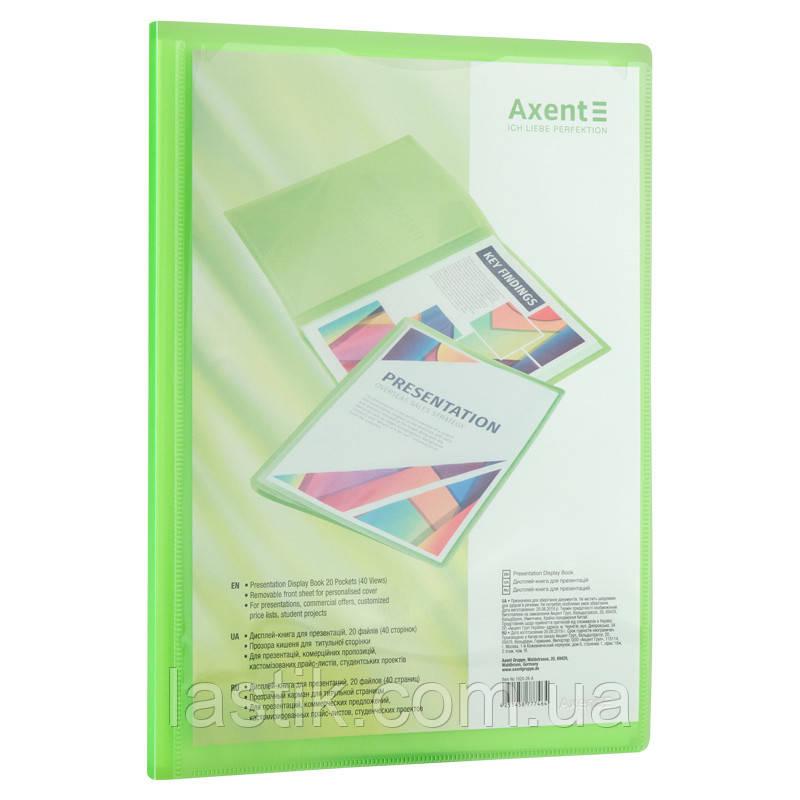 Дисплей-книга з прозорою зовнішньою кишенею, А4, (зелена)