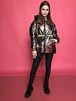 Демисезонная лаковая куртка для девочки Меган с поясом и отстегивающимися рукавами Р-ры 40, 44 Новинка 2020