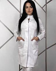 Медицинское женское платье халат доктора со стойкой