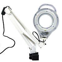 Лампа-лупа з LED підсвічуванням SP-32 на струбцині, фото 1