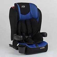 Детское универсальное автокресло JOY 43098 Черный с синим, система ISOFIX, группа 1/2/3, от 9-36 кг