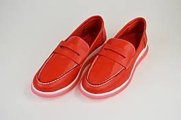 Мокасины кожаные Derem 4063 Красные