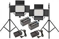 Комплект LED-540AS Pro: Постоянный биколорный LED свет KingMa LED-540AS с пультом ДУ - 2 шт, Стойка KingMa BM-2800 - 2 шт, Аккумулятор NP-F750 - 2 шт,