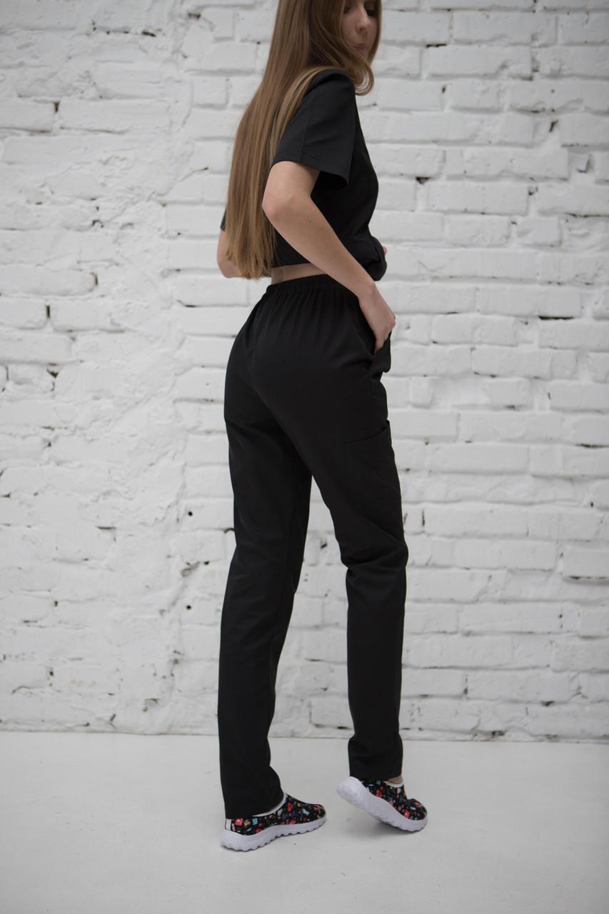 Медицинские брюки с 3 карманами женские Черные