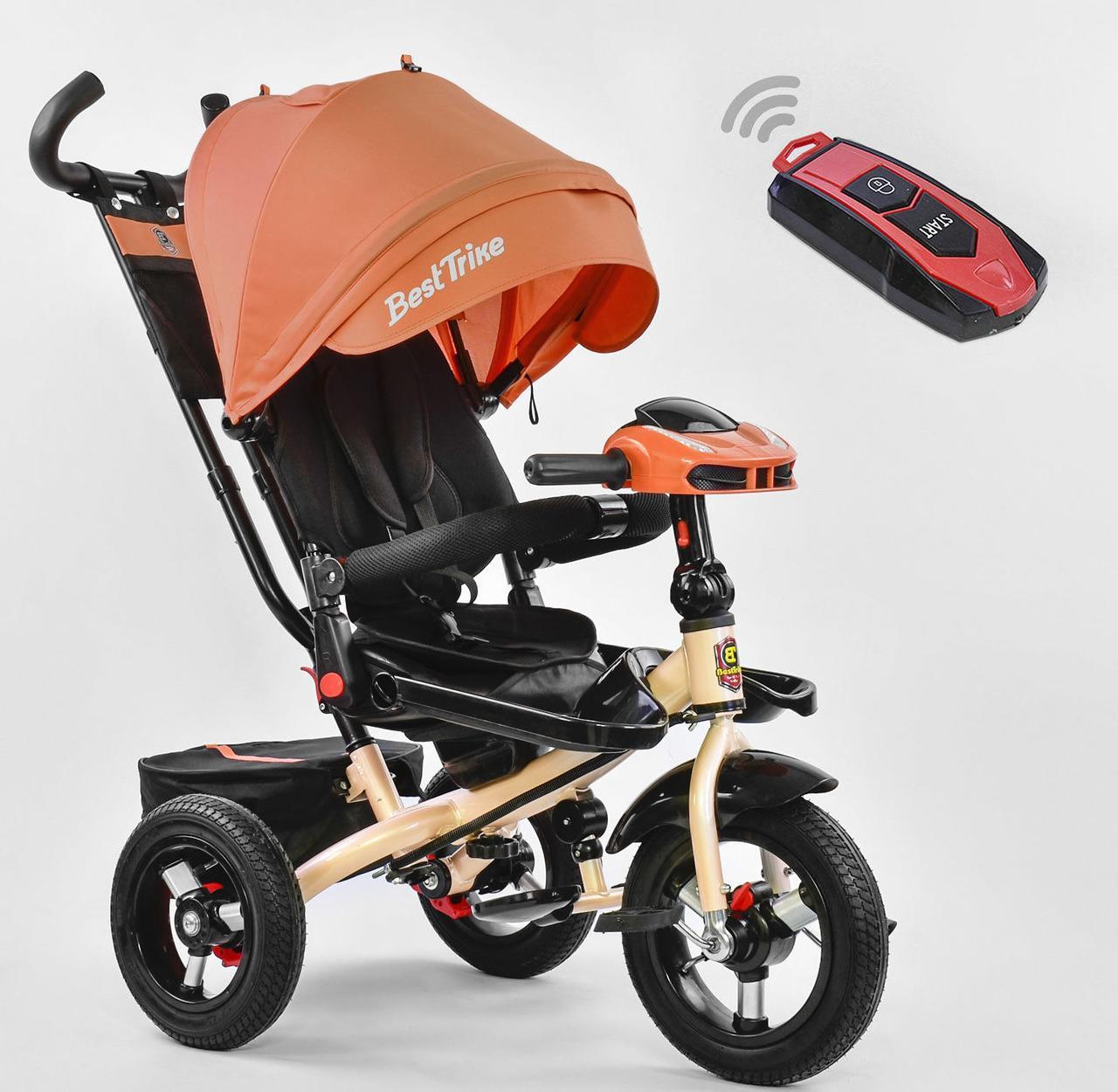 Велосипед дитячий триколісний Помаранчевий Best Trike 6088 з пультом і поворотним сидінням