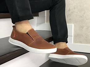 Стильные мужские кожаные мокасины (туфли) Levis,темно коричневые, фото 2