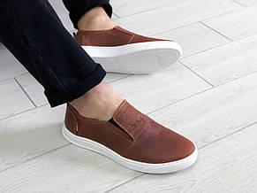 Стильные мужские кожаные мокасины (туфли) Levis,темно коричневые, фото 3