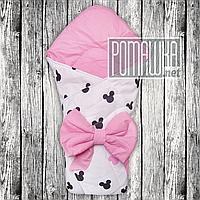 Двухсторонний демисезонный хлопковый конверт плед одеяло с бантом 90*80 на выписку весна осень 4805 Розовый А