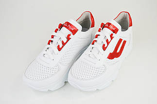 Кроссовки перфорированные Selesta 5300 Белые кожа, фото 3