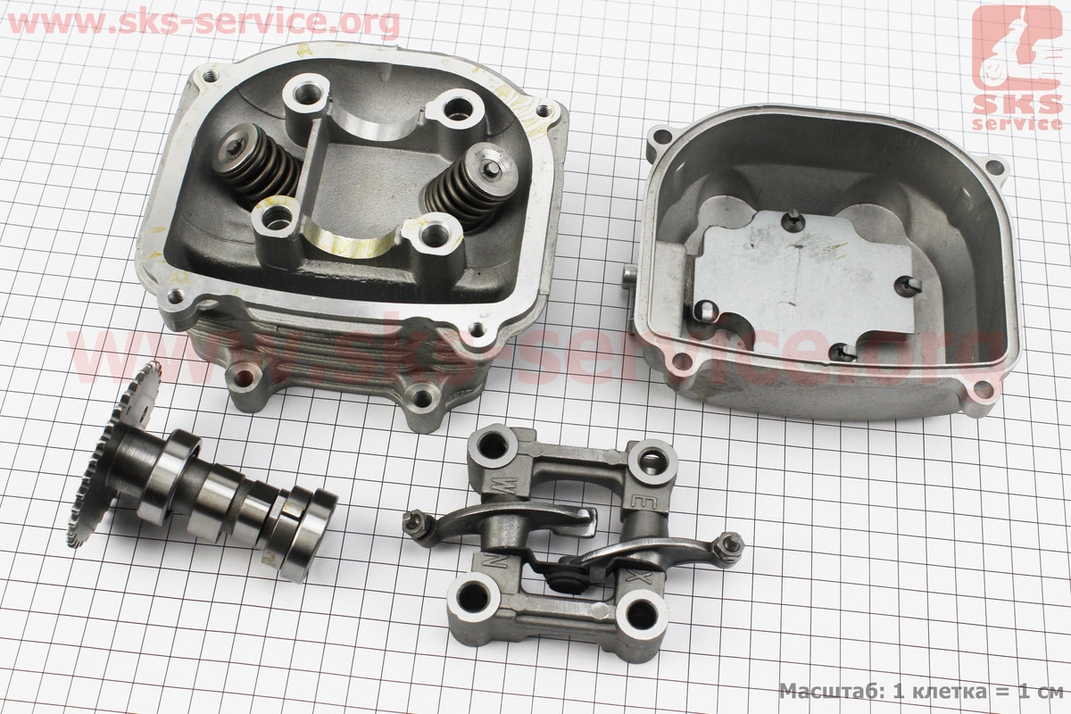 Головка цилиндра+клапана+пастель+распредвал+крышка в сборе 125сс на 4т скутер