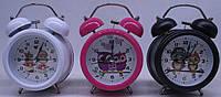 """Часы-будильник мет.""""Совы"""",диам.8,5см,3цв. (669-1)"""