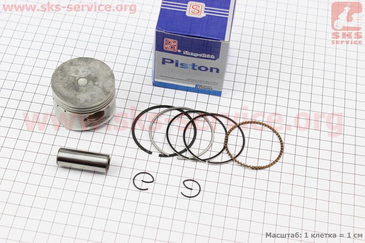 Поршень, кольца, палец к-кт 125cc 52,4мм +0,50 (палец 15мм) синяя коробка на 4т скутер