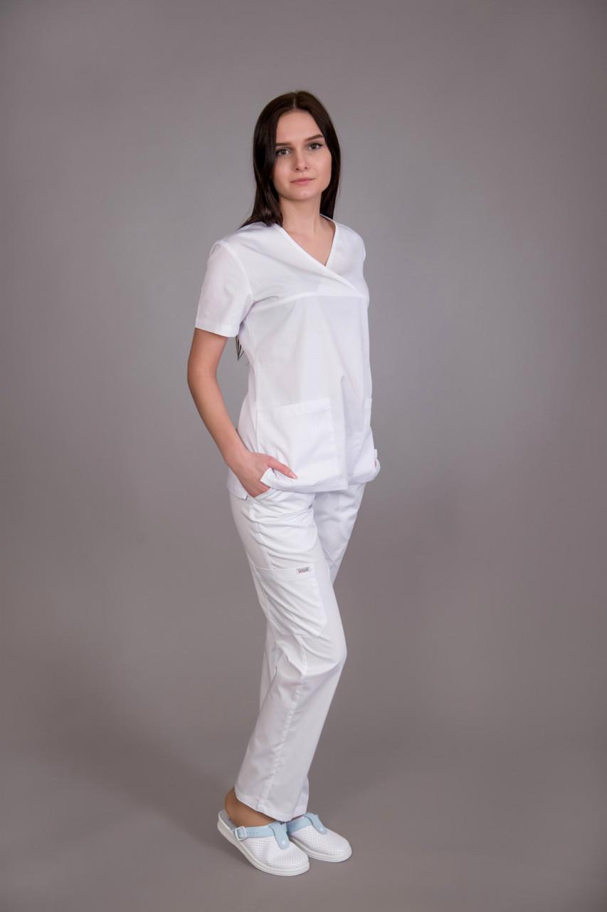 Хирургический медицинский костюм женский Белый