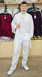 Медицинский халат на кнопках мужской Белый