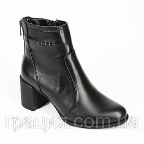 Модные кожаные женские   ботиночки на среднем каблуке