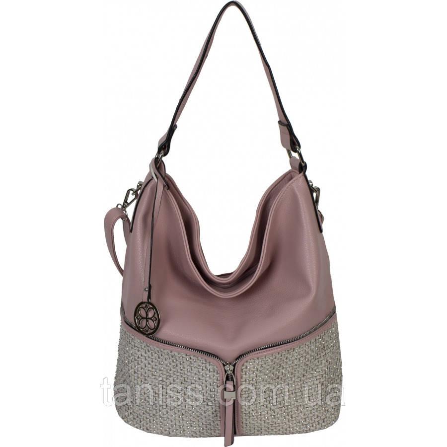 Жіноча,стильна, повсякденна сумка, тканина екошкіра , одна середня ручка,три відділення, (68209 )