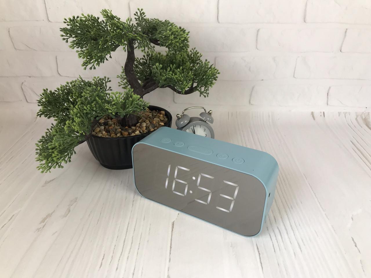 Портативная мобильная колонка Bluetooth зеркальная с часами, будильником JEDEL Голубой