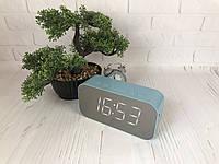 Портативная мобильная колонка Bluetooth зеркальная с часами, будильником JEDEL Голубой, фото 1