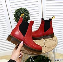 Кожаные ботинки на низком ходу 36-41 р красный