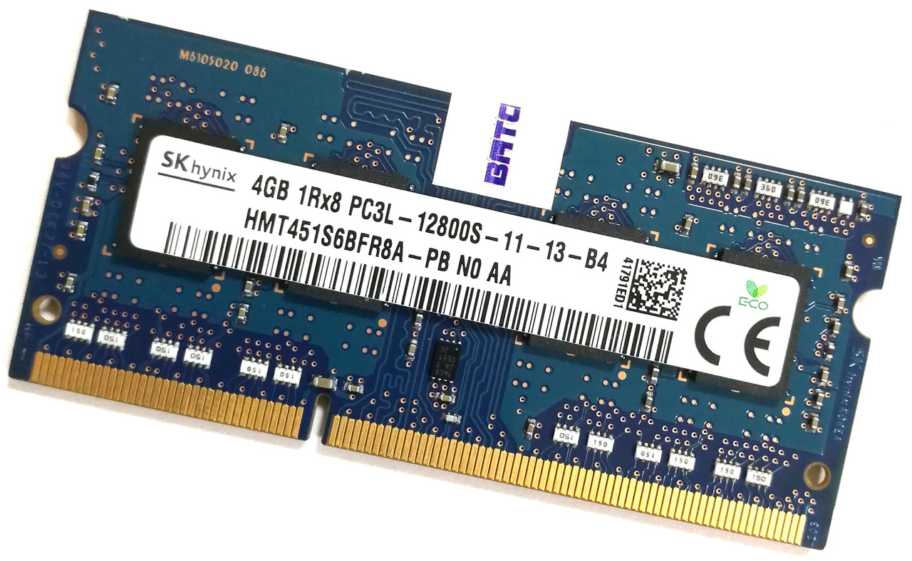 Оперативная память для ноутбука Hynix SODIMM DDR3L 4Gb 1600MHz 12800s CL11 (HMT451S6BFR8A-PB N0 AA) Б/У