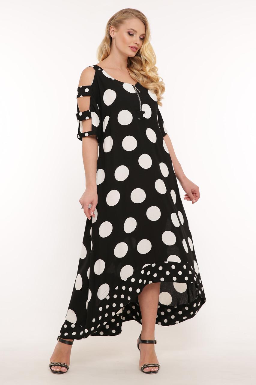 Летнее платье в пол Тропикана черное горох
