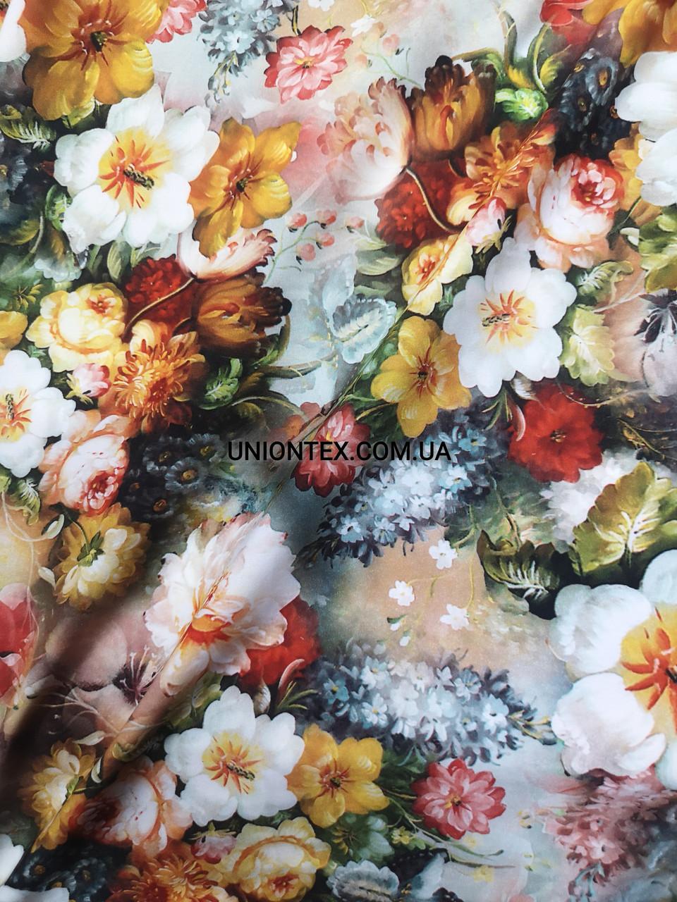 Ткань супер софт принт цветочная поляна