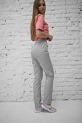 Медицинские брюки на резинке женские Серые
