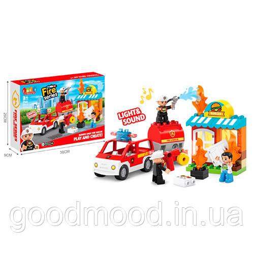 Конструктор JDLT 5420 пожежна, магазин, машина, фігурки, 32 дет., кор., 38-26-9 см.