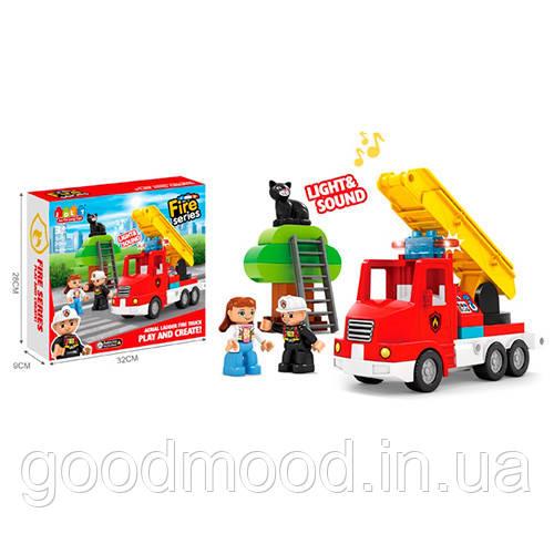 Конструктор JDLT 5421 пожежна машина, фігурки, дерево, кіт,20дет.,муз.,світло,бат.,кор.,32-28,5-9см.
