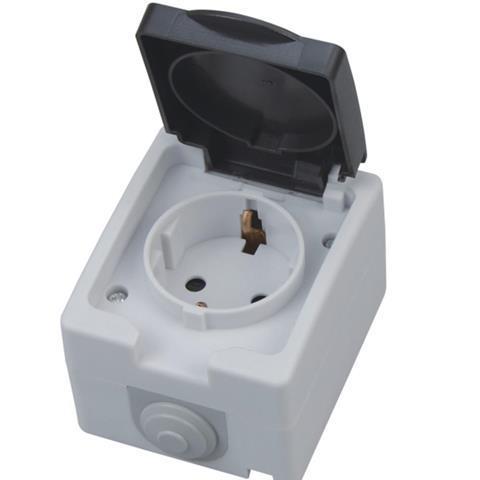 Накладная розетка с заземлением и крышкой IP54 Atom Horoz Electric 112-100-0001