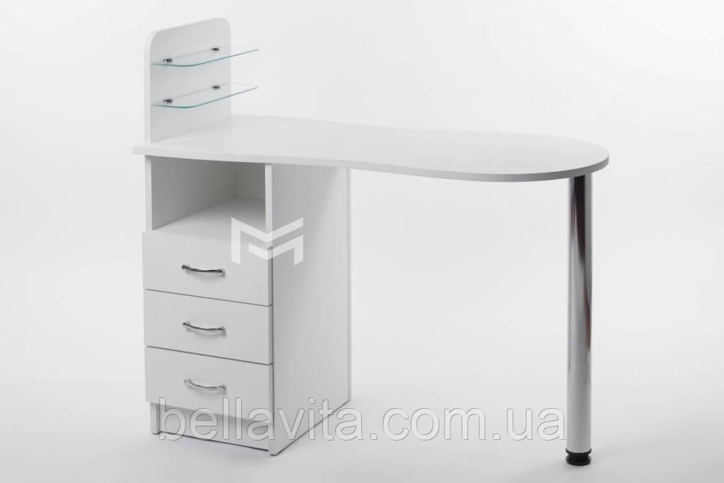 """Маникюрный стол M101 стеклянными полочками под лак """"Эстет  №1"""""""