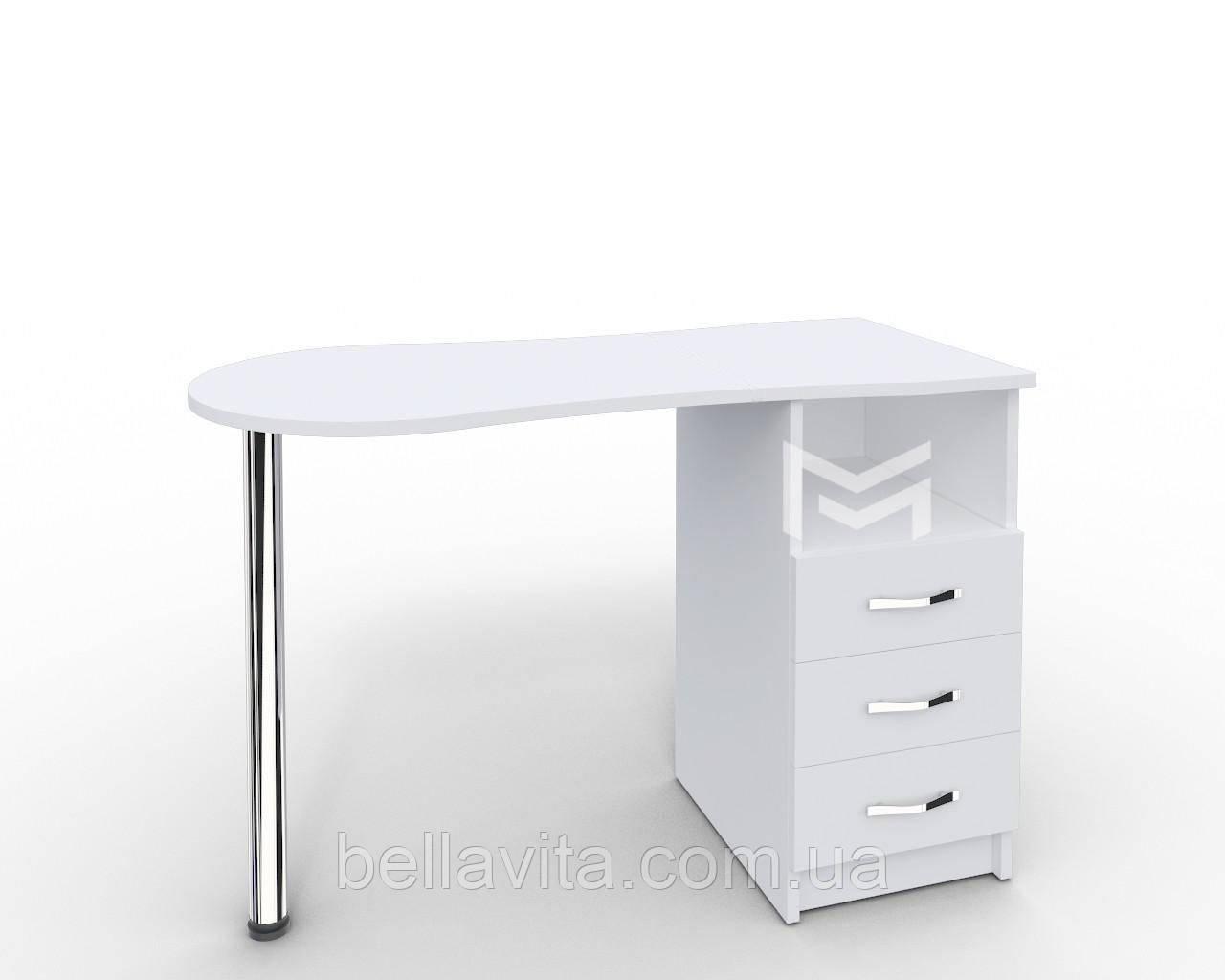 """Маникюрный стол M100 """"Эстет"""" белый c выдвижными ящиками"""