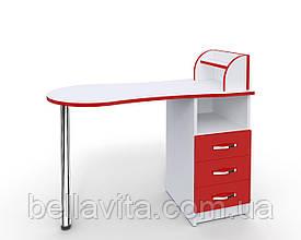 """Маникюрный стол-трансформер M103K """"Эстет компакт №3"""" белый с красными фасадами"""