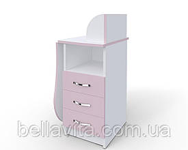 """Маникюрный стол-трансформер M103K """"Эстет компакт №3"""" белый с розовыми фасадами"""