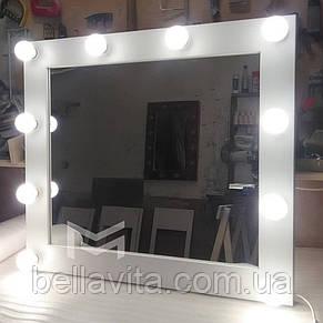 Зеркало с белой рамой и подсветкой MENS 80х90см, фото 2