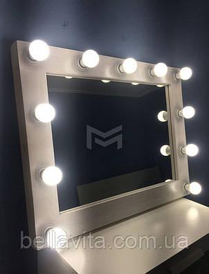 Дзеркало з білої рамою і підсвічуванням MENS 80х90см, фото 2