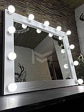 Дзеркало з білої рамою і підсвічуванням MENS 80х90см, фото 3