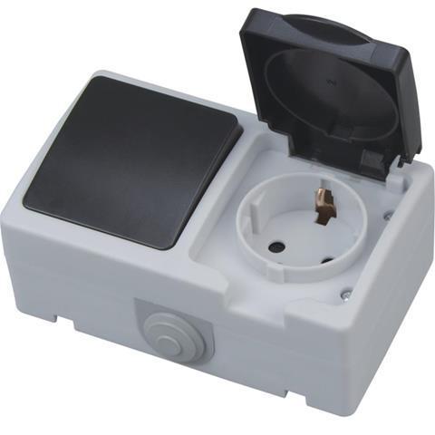 Накладная серия включатель+розетка с заземлением и крышкой блок Atom Horoz Electric 112-100-0003