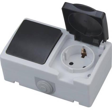 Накладная серия включатель+розетка с заземлением и крышкой блок Atom Horoz Electric 112-100-0003, фото 2