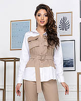 ЖІночий брючний костюм з блузою з поясом .Р-ри 42-48