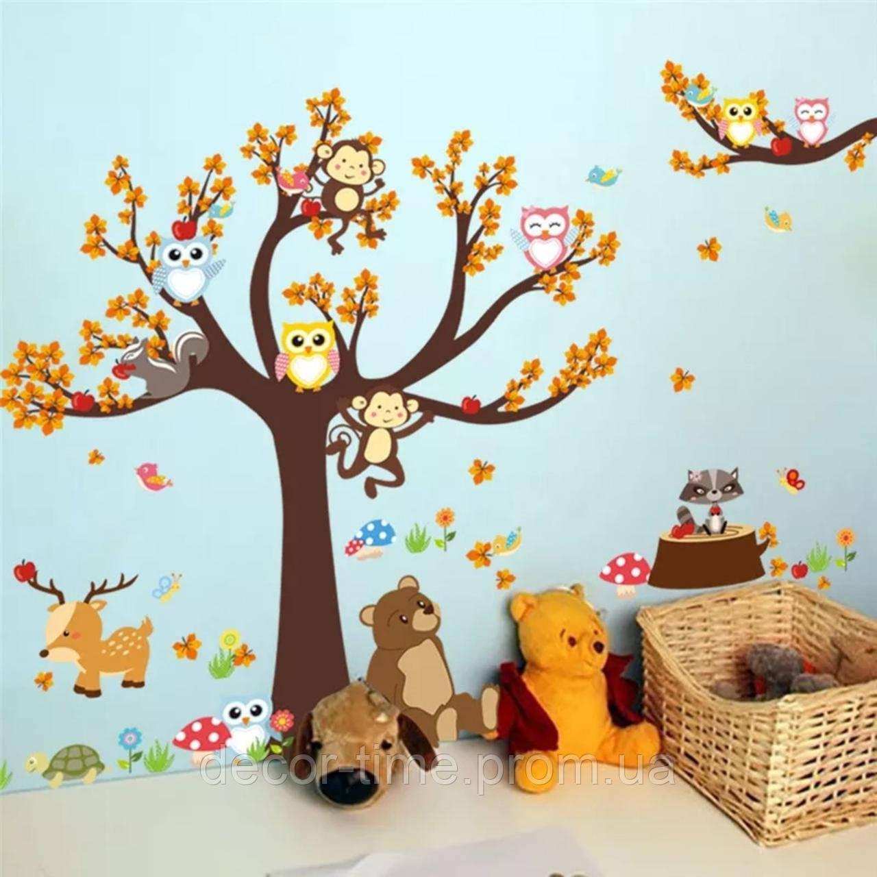 """Детская виниловая наклейка на стену , в детскую комнату  """"Лесной сад"""" (v3739)"""