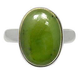 Серебряное кольцо с жадеитом Канадский нефрит, 2275КЦЖ