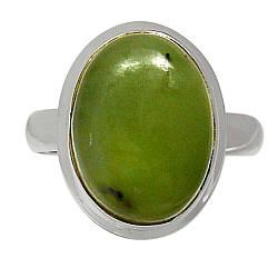 Серебряное кольцо с жадеитом Канадский нефрит, 2276КЦЖ
