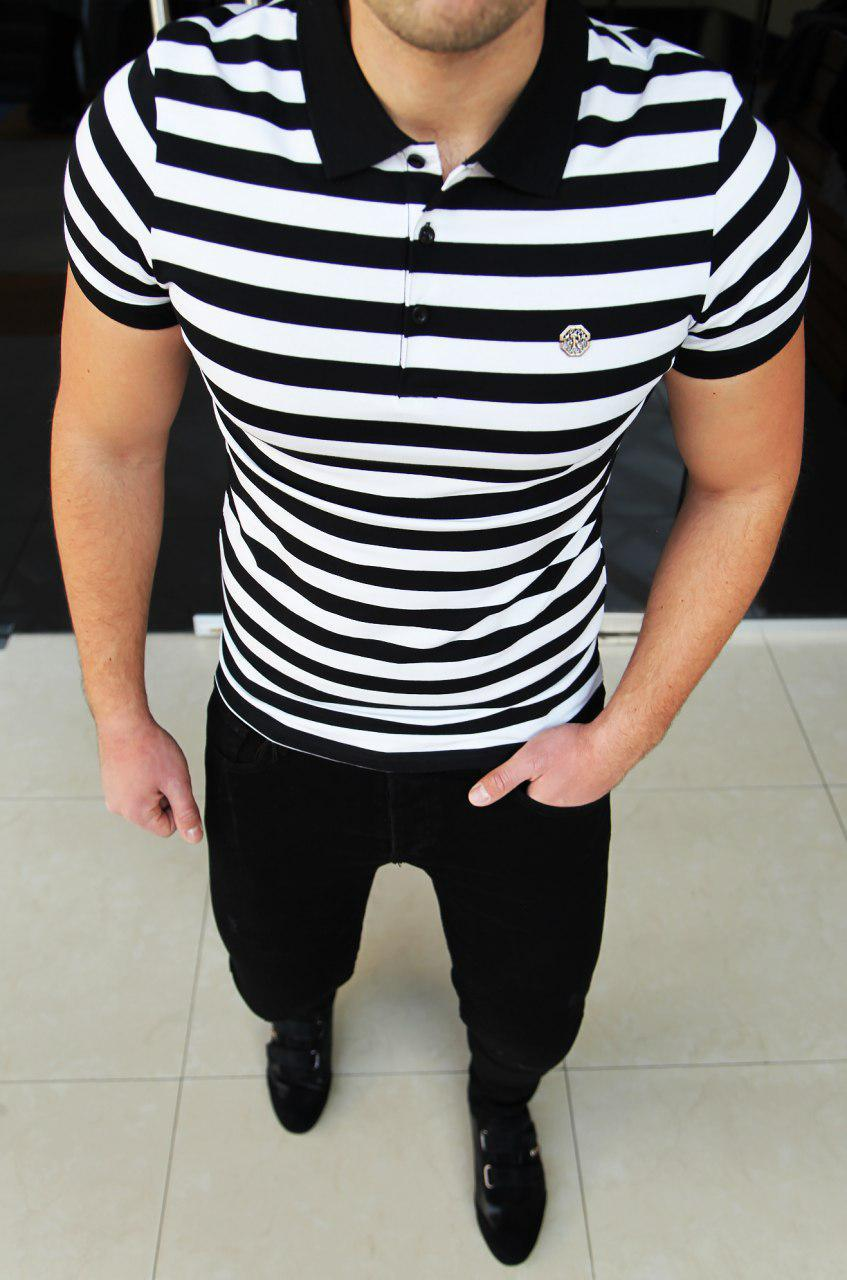 Мужская футболка Stefano Ricci H0318 бело-черная