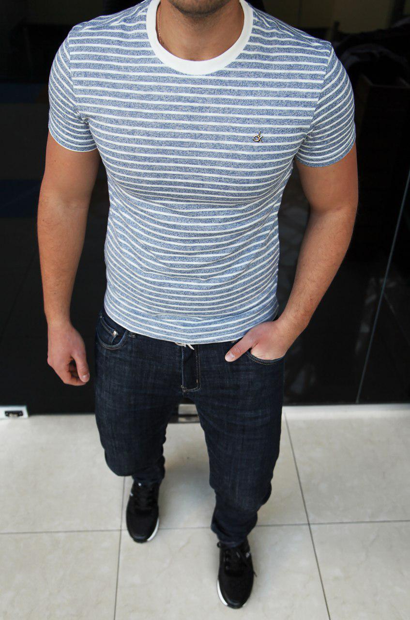 Мужская футболка Calvin Klein H0319 сине-белая