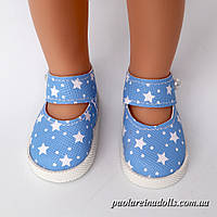 Туфли с ремешком голубые звездочки для кукол Паола Рейна
