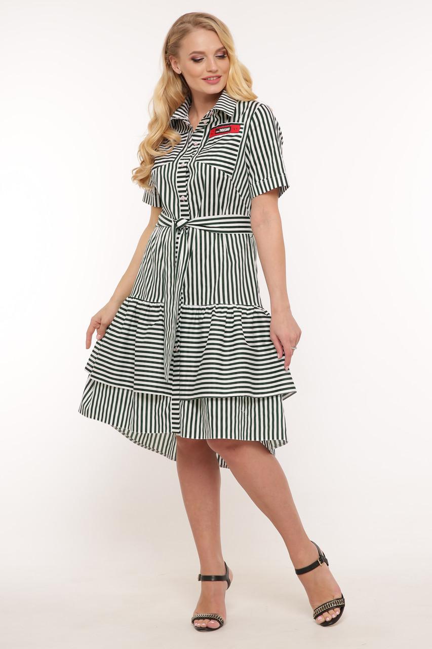 Платье летнее Кэт зеленая полоска