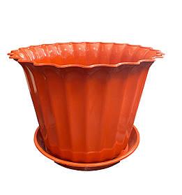 Кашпо пластиковое с подставкой Астра 13 см ТЕРРАКОТОВЫЙ ММ-Пласт