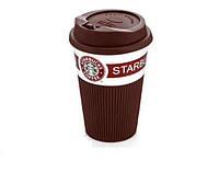 Чашка керамическая кружка StarBucks Brown коричневая стакан для кофе, чая, горячих напитков Star Bucks! Хит продаж