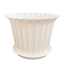 Кашпо пластиковое с подставкой для домашних растений, 17см, БЕЛЫЙ, ММ